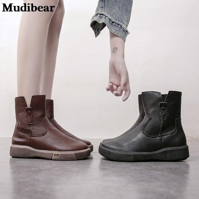 Фото женские кожаные ботинки mudibear черные на плоской платформе