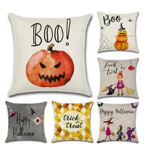 Cute Cartoon Pillow Case Boo Cotton Linen Halloween Pumpkin Little Witch Pillowcase Cushion Cover Trick or Treat Home Decoration