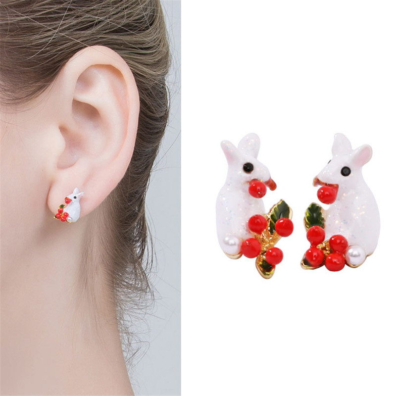 Women Earrings Mini Cute Elegant Girl Heart Enamel Glaze Color Meng Romantic Rabbit Flower Earrings Wedding Party Ladies Gift