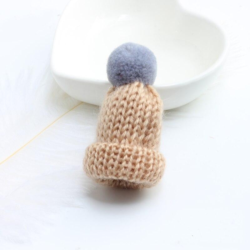 Нагрудные булавки брошь для женщин Милая Мини вязанная Hairball брошь «шляпа» булавка для свитера куртки значок ювелирные изделия шерстяной шар DIY подарок для женщин и девочек - Окраска металла: gray-brown