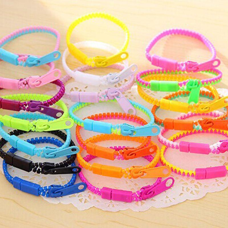 Fluorescent Rainbow Color Level Personalized Zipper Bracelet Bracelet 634F