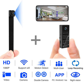 1080P Double lens Camera Wireless HD Mini Wifi Camcorder Motion Detection Home Security Cam Night Vision IP P2P Nanny Camera DVR mini camera 1080 full hd clock alarm night vision motion detection wifi ip cam dv dvr camcorder home security surveillance hot