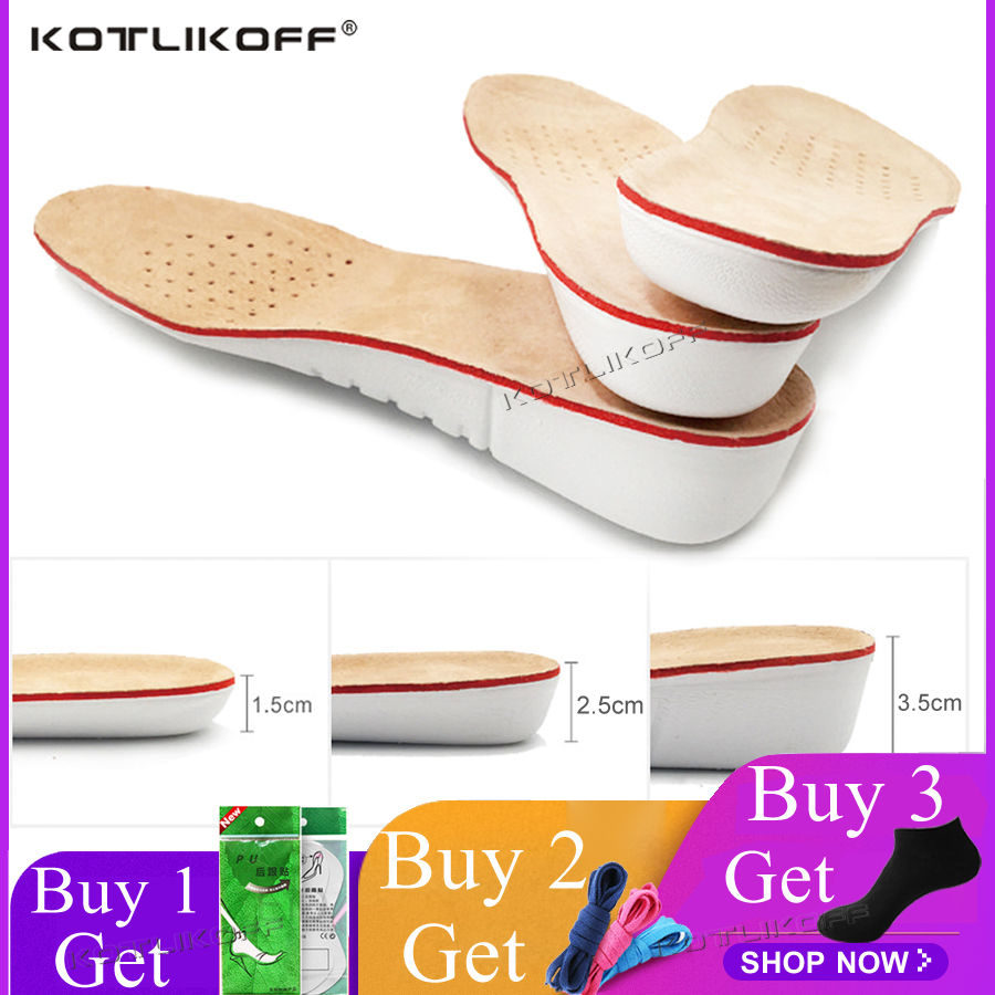 KOTLIKOFF Height Increase Insole EVA Pigskin Insoles Gel Insoles Flat Foot Silicone Soles Gel Orthopedic Shoe Pad Lift Increase