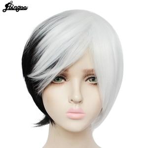 Image 2 - Ebingoo Peluca de Cruella Deville para mujer flequillo lateral medio blanco en capas negras, Cosplay, peluca sintética para mujer, fiesta, Halloween, gorro de peluca