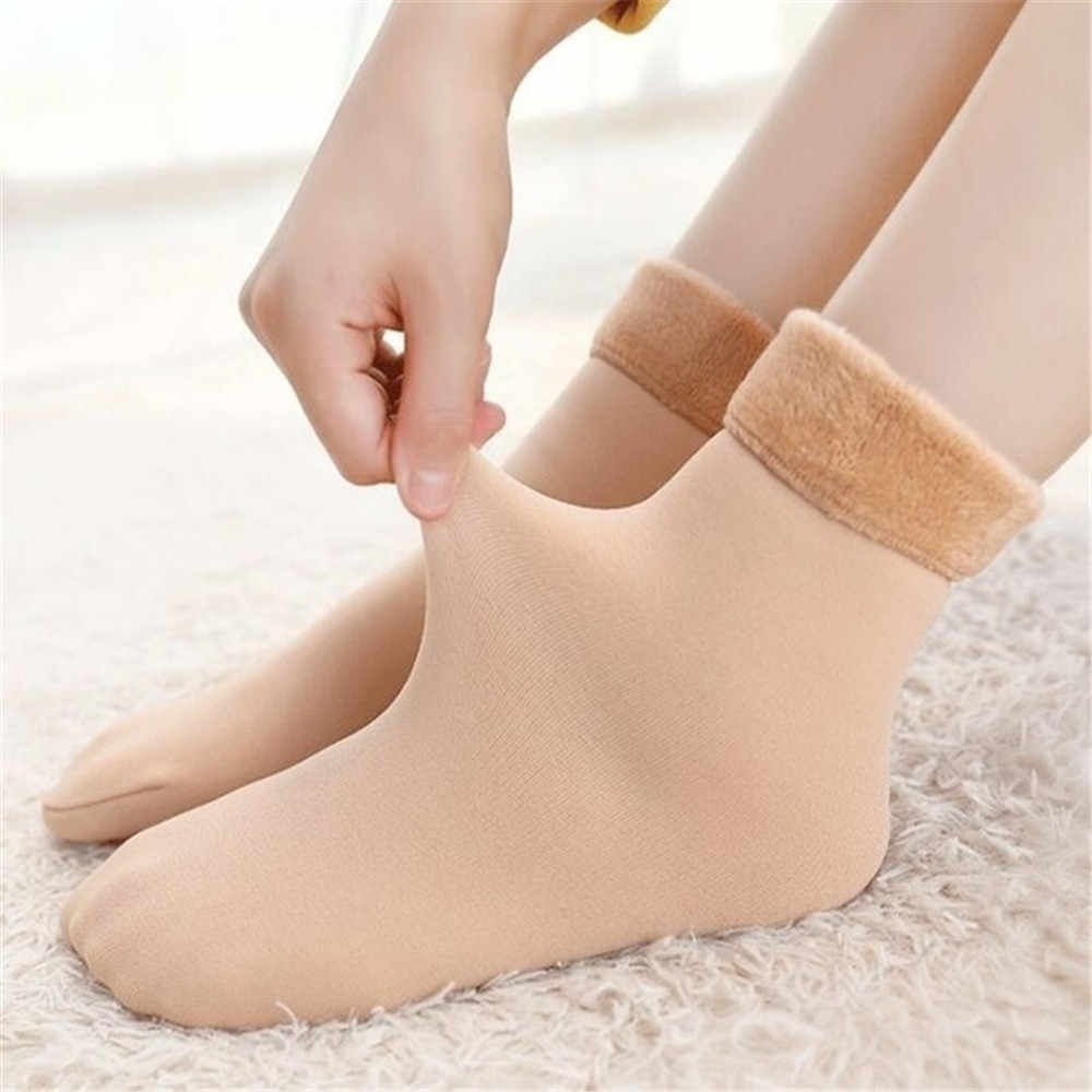 1 çift kış kadın kalınlaşmak isıtıcı termal yün botları çorap kar çorap kaşmir dikişsiz artı kadife çizmeler zemin uyku tulumu