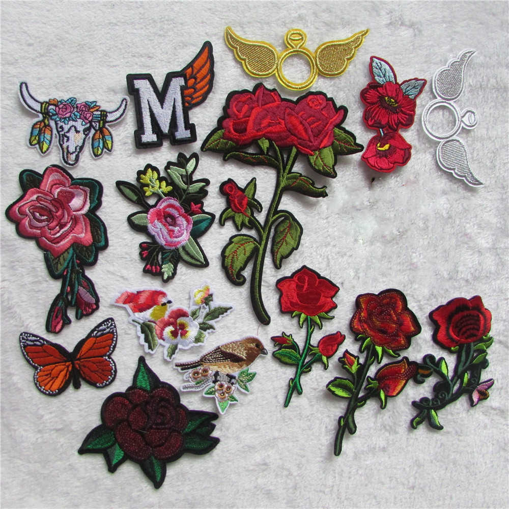 brand new fashion flower Patch Hand Embroidery Patches Hotfix Applique Feather Hot Fix Motif DIY Clothes Stickers C5405-C5474