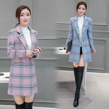 2021 wiosenny i jesienny wełniany płaszcz damski średniej długości płaszcz luźny kombinezon popularny płaszcz w kratę damski płaszcz damski tanie tanio KUCLUT POLIESTER CN (pochodzenie) Na wiosnę jesień K-7778 Dla osób w wieku 18-35 lat V-neck Jednego przycisku REGULAR