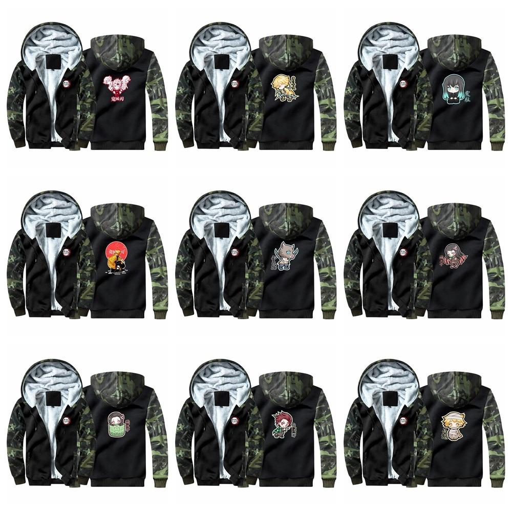 New Demon Slayer: Kimetsu No Yaiba Hoodie Sweatshirts Winter Casual  Cosplay Costume Gamer Coat Thicken Warm Hooded Men Clothing