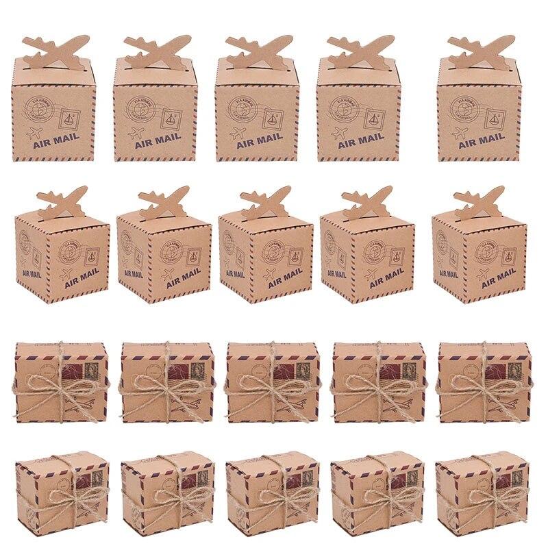 Party Favor Boxes Kraft box Candy box Wedding party favor box gift box Craft paper candy box Travel Theme candy box Airplane Favor Box 20pcs