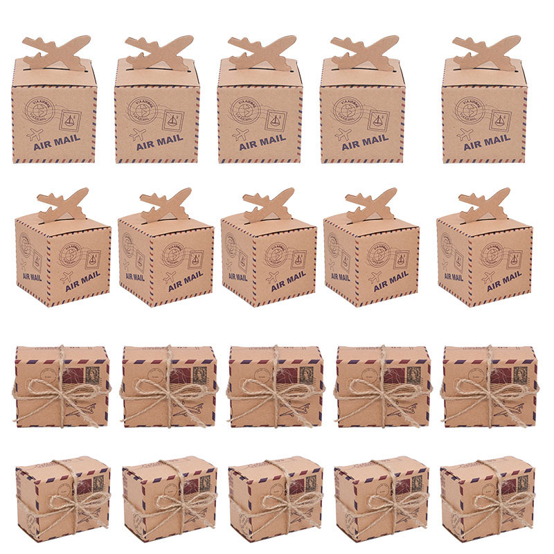 10/20/30Pcs Aircraft Shape Kraft Paper Candy Box Theme Travel Candy Box Airplane Gift Box For Wedding Birthday Party Favor Boxes image