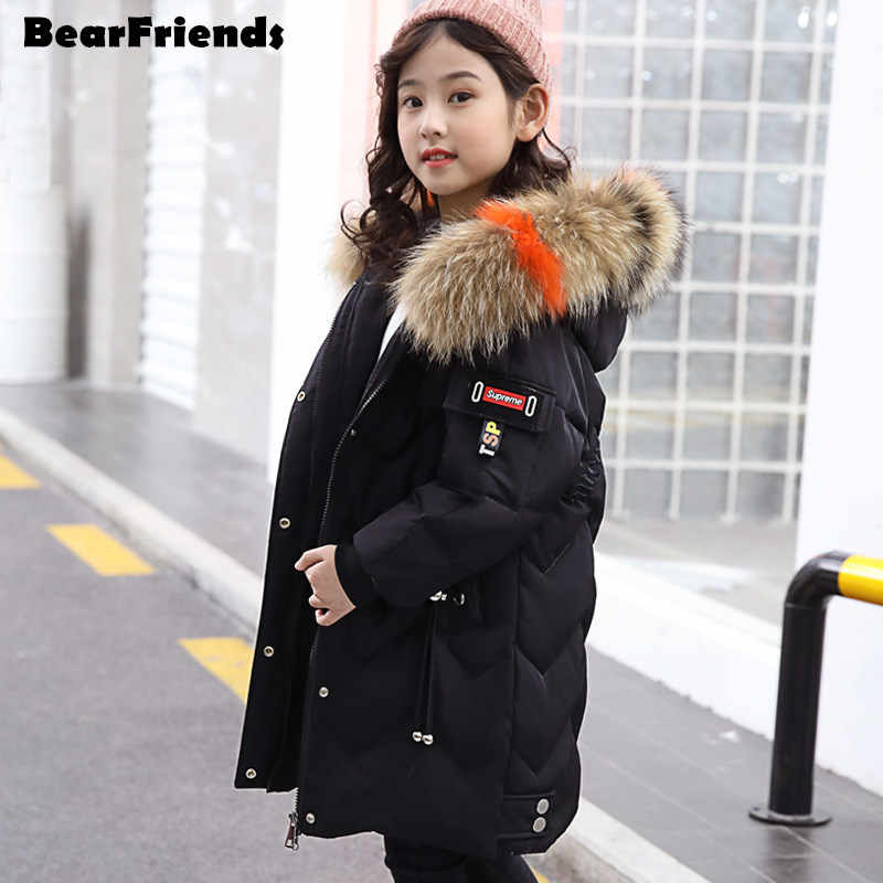 2019 new fashion winter Children's girls Clothing kids clothes warm outerwear & coats duck down jackets hooded parka real fur