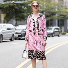 SEQINYY Autumn Winter Set 2020 Women New Fashion Design Long Sleeve Jacket + Midi Slim Skirt Leopard Printed Pink Suit