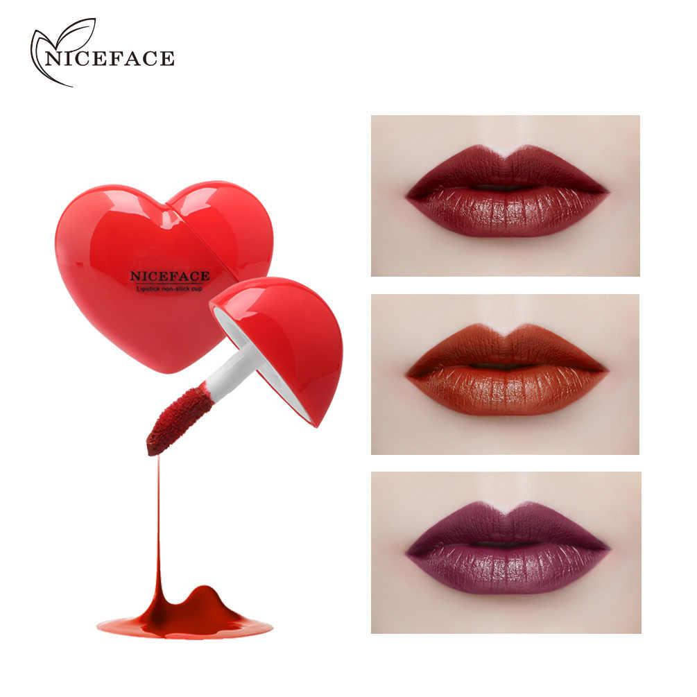 NICEFACE di Lunga Durata Impermeabile antiaderente Tazza Lip Gloss 10 di Colore di Seta Opaca Superficie Nebbia Sexy Lip Smalto Trucco lip Tint TSLM1