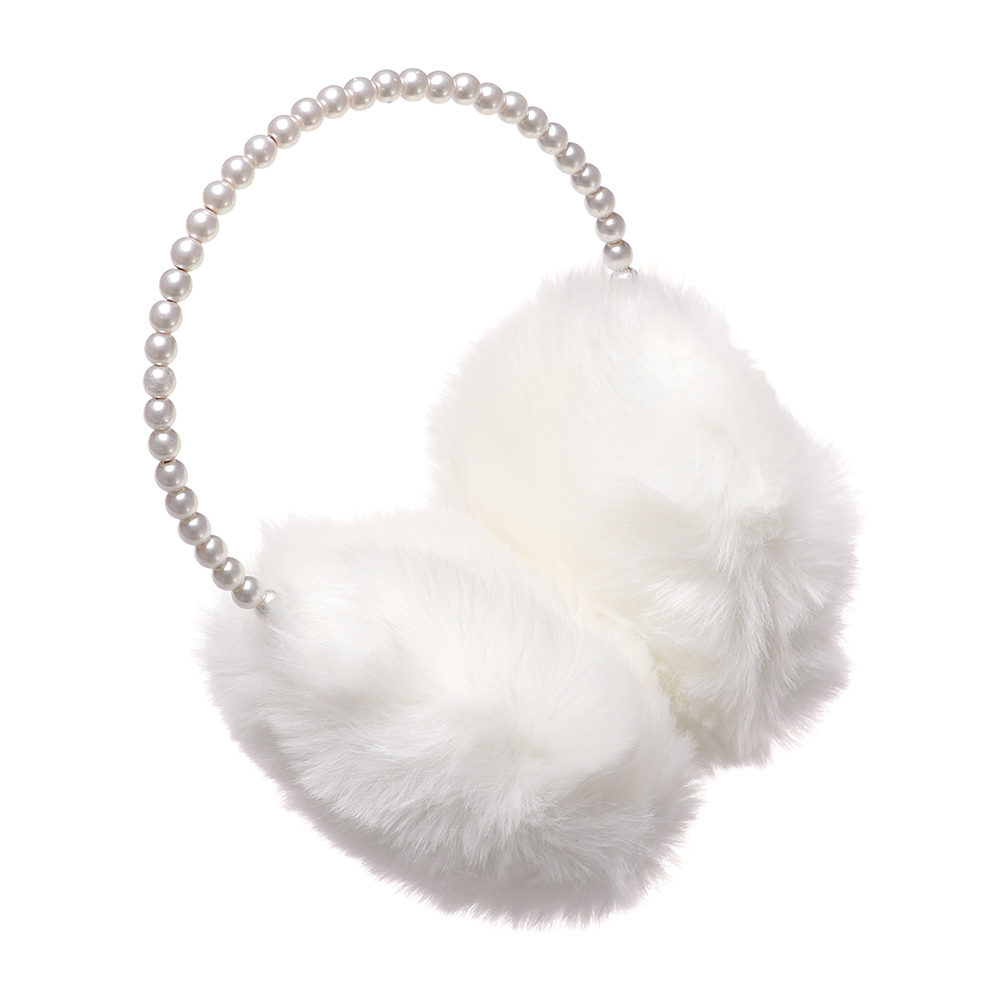 Fashionable Ladies Pearl Earmuffs Wool-Like Warm Elegant Lovely Accessories Soft High Quality Temperament Autumn Winter Earmuffs