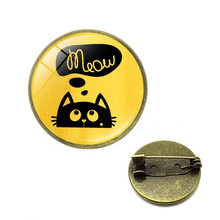 NEW Glass Black and White Brooches Cute Cate Meow Badage Pins Private Custom Cute Jewelry Gifts for Men Cc Brooch Christmas gift(China)