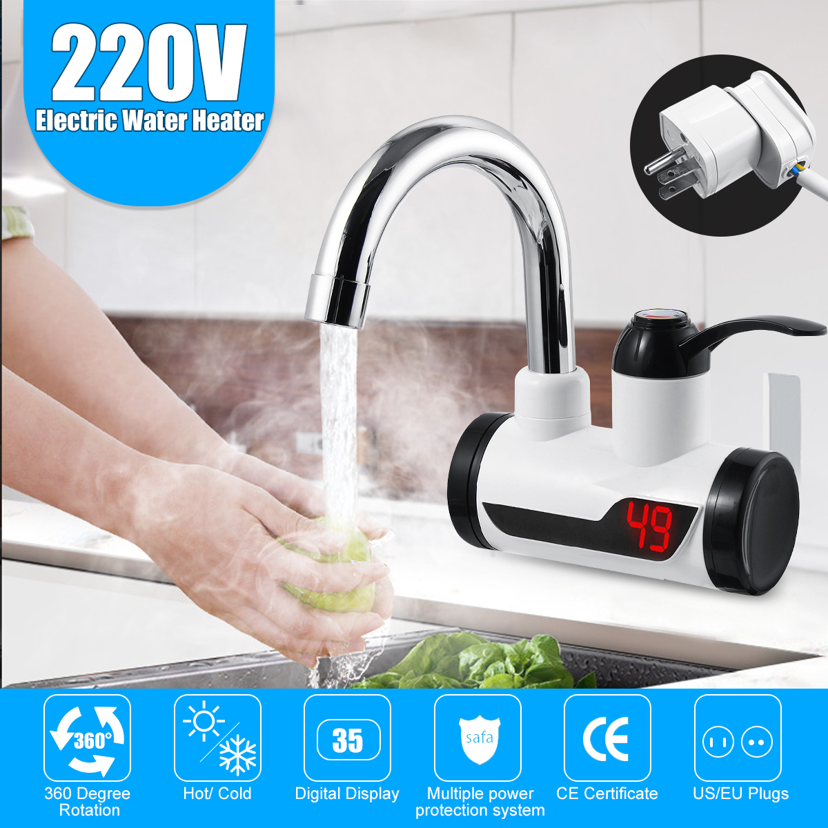 Lateral / Under Inflow Instant Tankless Electric Hot Water Heater Faucet Kitchen Heating Tap Heater LED Temperature Display