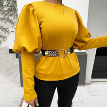 New Fashion Belt Solid Black Blouse Long Sleeve Office Shirt Women Spring 2020  Elegant Shirts Ladies Tops Party Casual Blouses 2019 hot sale spring women shirts tops long sleeve bow collar solid ladies chiffon blouse tops ol office style chemise femme