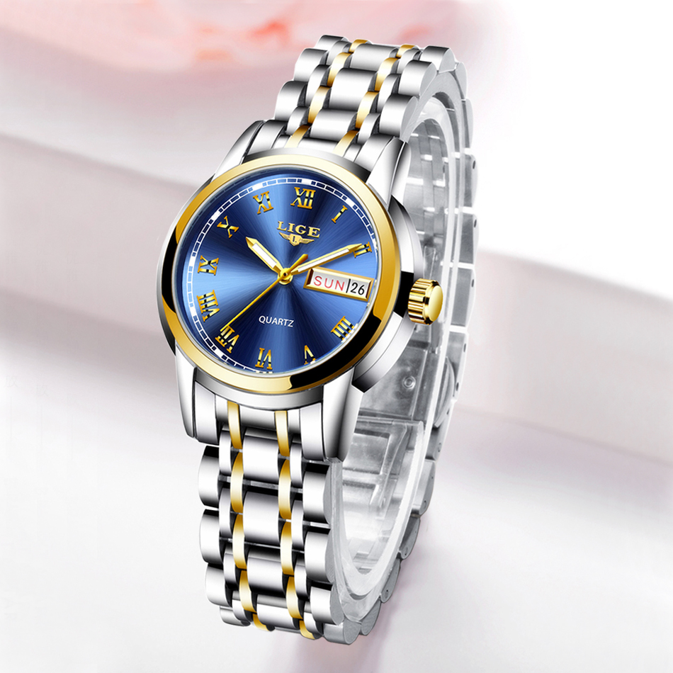 2019 LIGE Woman Watches Rose Gold Top Brand Luxury Watch Women Quartz Waterproof Women's Wristwatch Ladies Girls Watches Clock