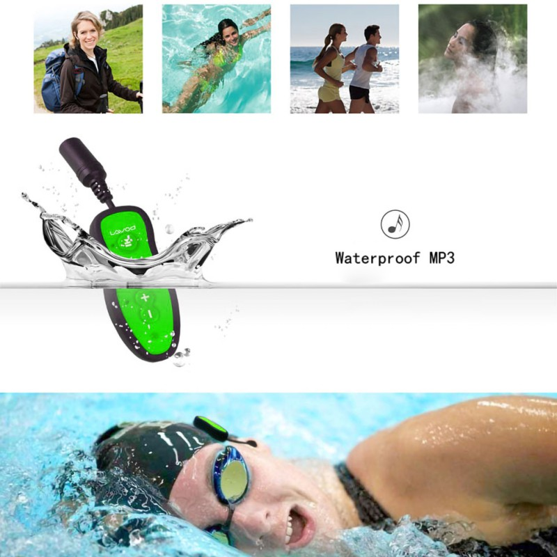 Swimming/Diving  Sport Stereo Bass Swim MP3 With Clip Underwater MP3 Headset 8GB FM Radio IPX8 Waterproof MP3 Music Player