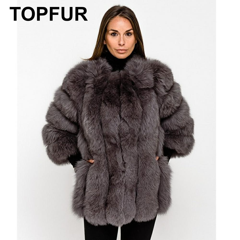 TOPFUR 2019 Fashion Real Fur Coat Women Leather Jacket Winter Natural Blue Fox Coat Women Three Quarter Sleeves Manteau Femme