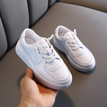 Spring Genuine Leather Soft Bottom Children's White Shoes Boys