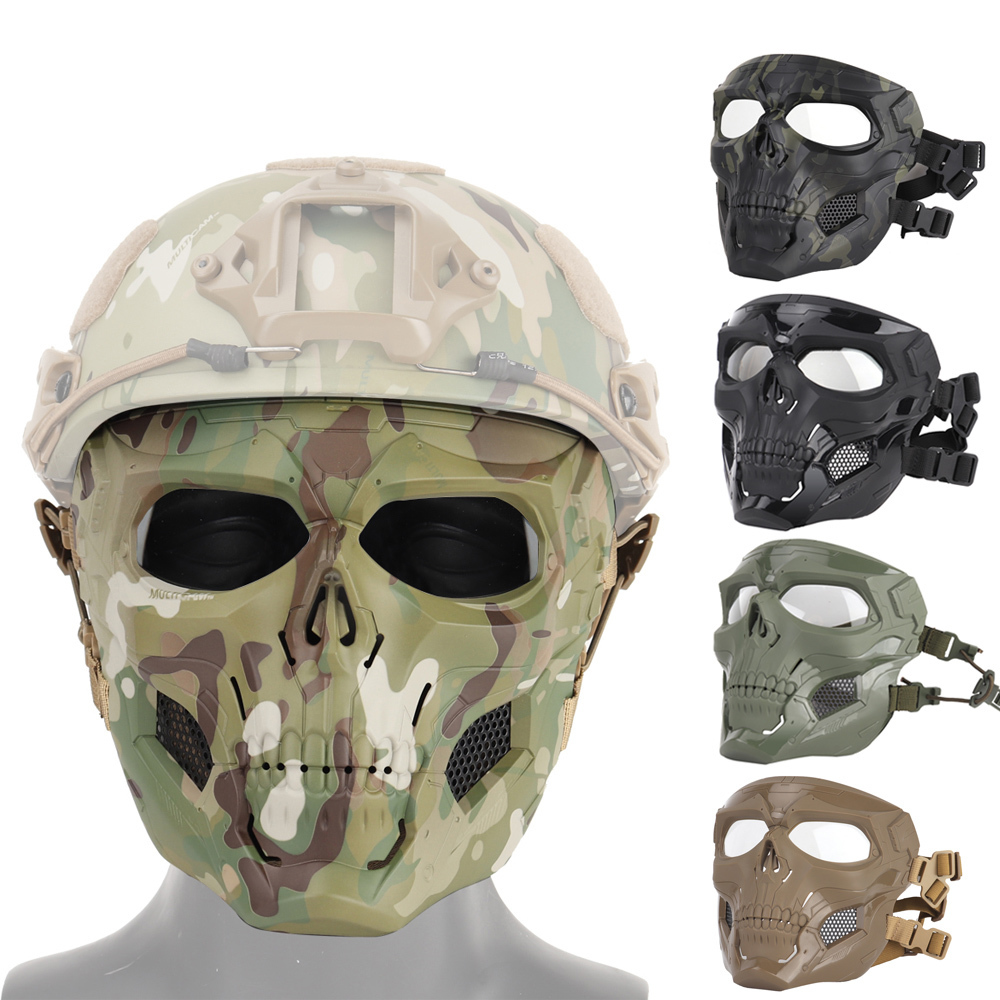 Wosport Airsoft Mask Halloween Tactical Team Skull Helmet Game Fast Adjustment Mask Paintball Tractical Airsoft Military Mask