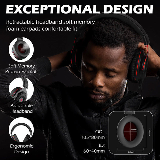 EKSA Gaming Headset with Microphone E900 Pro 7.1 Surround Headset Gamer USB/3.5mm Wired Headphones For PC PS4 Xbox one Earphones 6