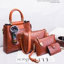 Fashion Crocodile Composite Bag Design Women Shoulder Crossbody Bags Luxury Alligator Pu Leather Handbags Large Plaid Purses Set stylish pu leather and crocodile print design women s shoulder bag