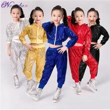 New Children Dance Costume Jazz Wear Women Girls Sequin Hip-hop Dance Jazz Kids Dance Competitions Performance Stage Clothing