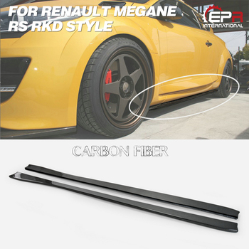 For Renault 14-17 Megane RS RKD Style Carbon Fiber Side Skirt Extension Glossy Finish Door Step Under Panel Fibre Tuning Trim