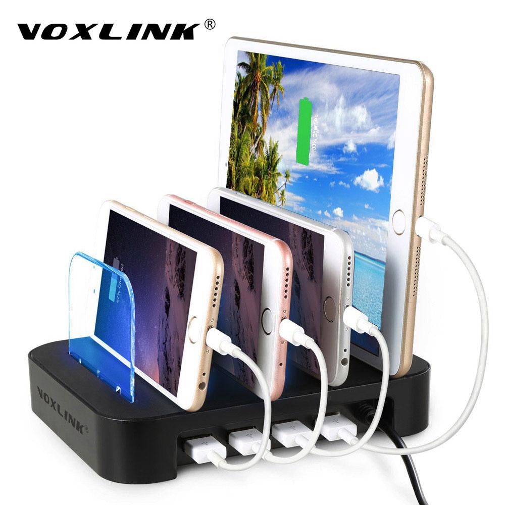 VOXLINK Univerzální víceportová nabíjecí stanice USB 4 porty Nabíjecí dokovací stolní USB Nabíjecí stolní stolek pro všechny chytré telefony