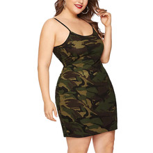 New Summer Plus Size Women Dress Spaghetti Strap Camo Plus Size Lady Mini Dress Female 2019 Camouflage Cami Camisole Vestidos