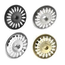 Kitchen Sink Strainer Plug Water Basin Sink Drain Filter Basket Draine Accessories 304 Stainless Steel Black