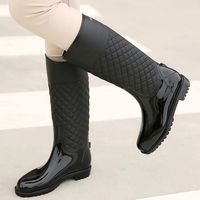 Autumn Knee High Boots Women PVC Rainboots Outdoor Rainy Shoes Woman Winter Rain Boots Waterproof Water Shoes Flat Botas Mujer