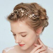 Elegant Bridal Wedding Hair Accessories Crystal Pearl Flower Girl Headband Ribbon Headdress