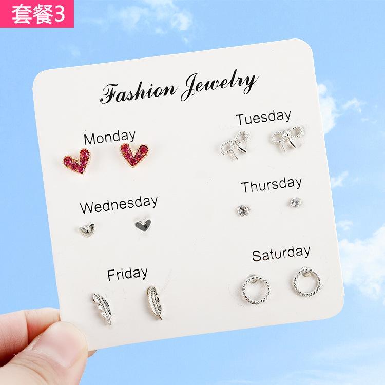 6 Pairs/set 2019 New Earrings for Women Stars Heart Crytal Cute Fashion Jewelry Monday To Saturday Pairs