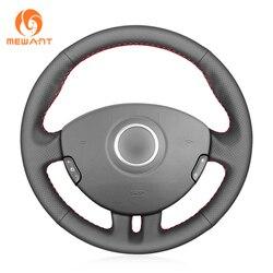 MEWANT czarny sztuczna skóra Wrap osłona na kierownicę do samochodu dla Renault Clio 3 2005 2006 2007 2008 2009 2010 2011 2012 2013