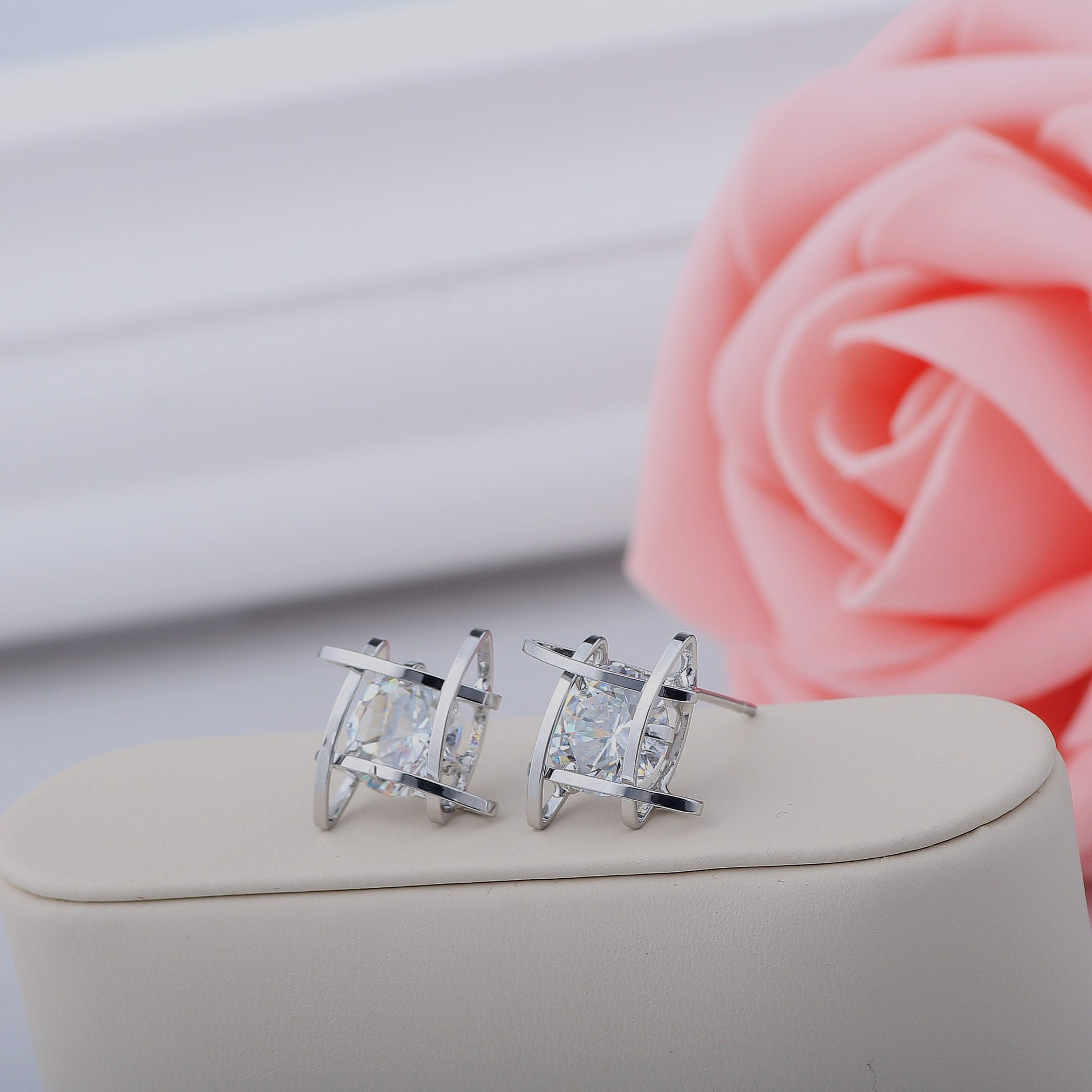 H61c9d1bb993445f787c5cacc7ee23d72g - Women's earrings Europe and the new jewelry geometric hollow square triangle zircon earrings fashion banquet jewelry
