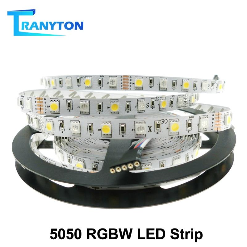 Tira de LED 5050 RGBW impermeable/no impermeable DC12V /24V cinta de neón tira de luz 60 /96 LED/m RGB + blanco/RGB + blanco cálido 5M