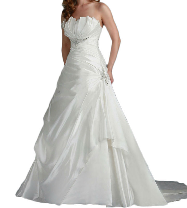 Vintage White Ivory Wedding Dresses Plus Size A Line Taffeta Beaded Crystal Draped Ruched Bridal Gowns 2016 Custom Made