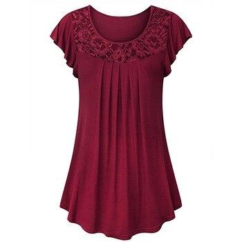 Top de encaje calado para mujer, cuello redondo, verano, Color sólido, manga corta, informal, suelto, Manga mariposa, Tops de talla grande