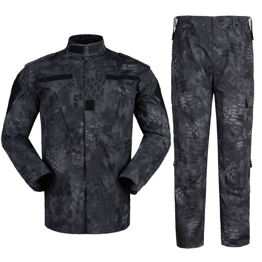 Multicam Black Male Military Uniform Combat Tops Jacket+Trousers Camouflage Tactical Training Army Suit Airsoft Costumes Clothes