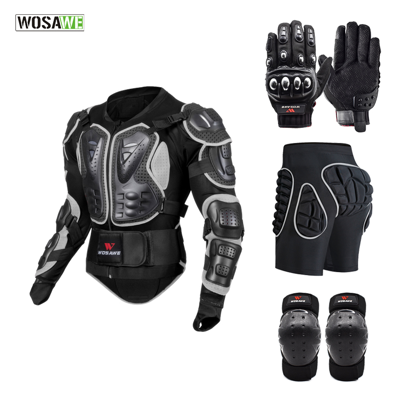 WOSAWE Motorcycle Snowboard Jackets Hip Protection Shorts Knee Pads + Gloves Riding Protection Ptotective Gears Combination