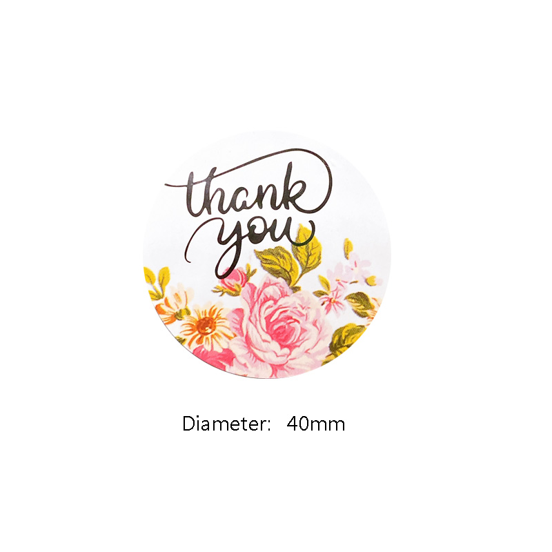 Купить с кэшбэком 120pcs/lot Round Thank you Flower Adhesive Christmas Baking Seal  label Sticker students'  gift