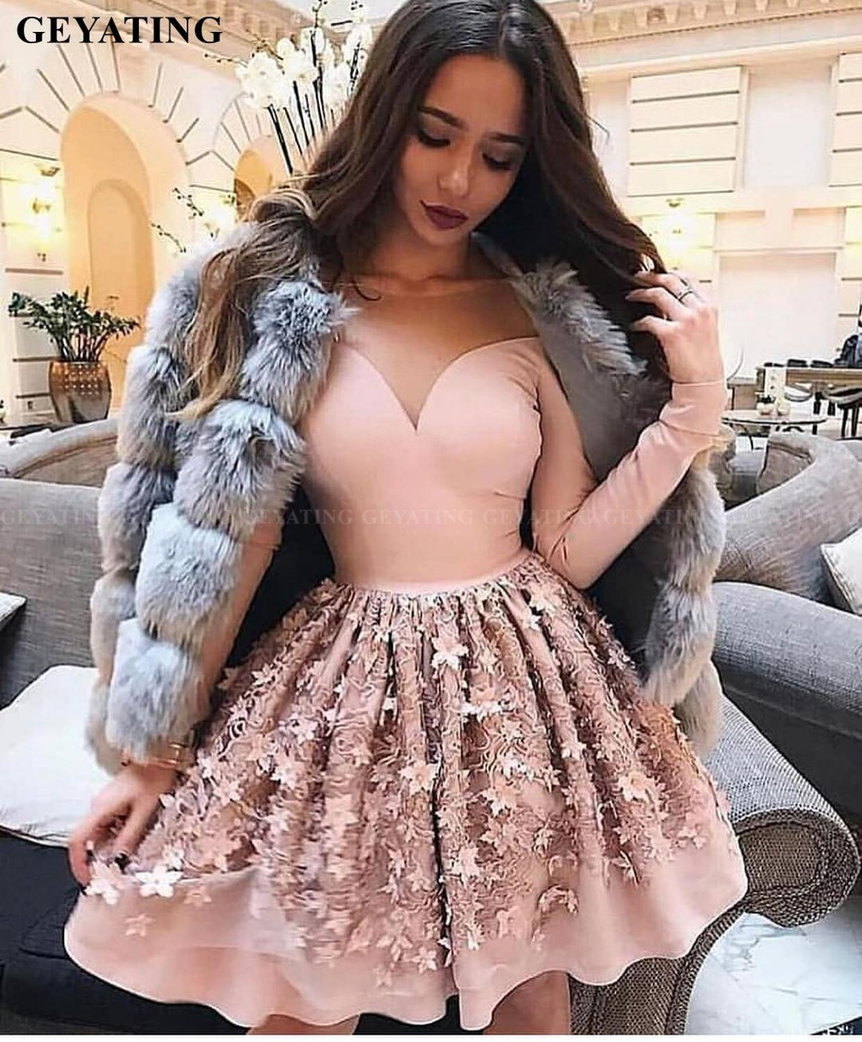 Elegant Long Sleeves Blush Pink 3D Floral Homecoming Dresses 2020 A line Knee Length Short Cocktail Dress Graduation Party Gowns-in Homecoming Dresses from Weddings & Events