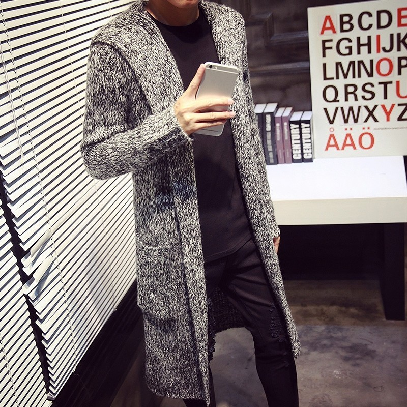 Autumn Winter Loose Long Mens Cardigans Sweaters New Fashion Large Size Jumpers Mens Hooded Knitted Sweater Solid Gray Red Coat
