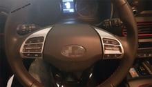 Yimaautotrims Matte / Carbon Fiber Look Interior Fit For Hyundai Kona 2018 2019 2020 Car Steering Wheel Frame Cover Trim lapetus steering wheel frame cover trim 2 pcs fit for hyundai kona 2018 2019 matte carbon fiber abs accessories interior