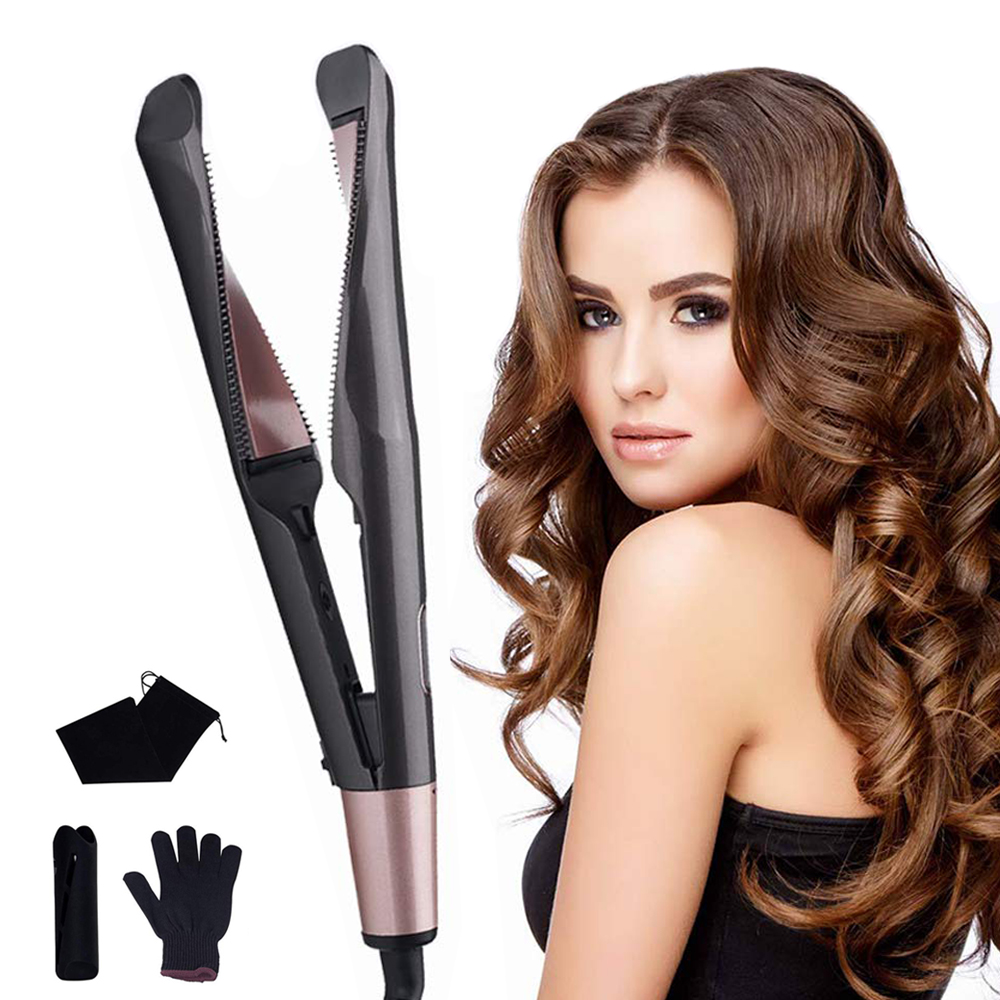 Professional Hair Curler 2 In 1 Twist Straightening Curling Iron Electric Corrugation Flat Iron Hair Straightener Styling Tools