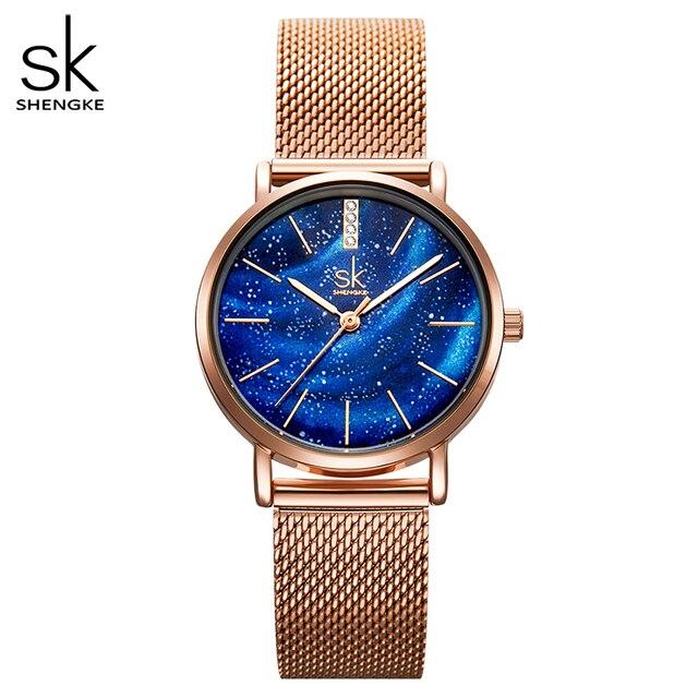 Shengke lüks kadın saatler romantik yıldızlı mavi kadran örgü paslanmaz çelik kayış ultra ince durumda kuvars saatler Reloj Mujer