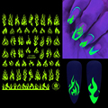 3D флуоресцентные клеящиеся наклейки для ногтей Светящиеся звезды галактика сердце бабочка неоновый зеленый Маникюр слайдеры в темноте ...